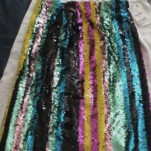 Zara Multi color Sequin Midi Skirt